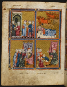 Scenes from Joseph's Life in the Golden Haggadah, Spain, mid 14th c.
