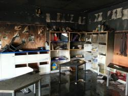 An image of the torched kindergarten classroom at Hand in Hand school in Jerusalem.